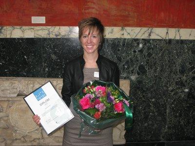 Kristina Hansen ved prisoverrækkelsen